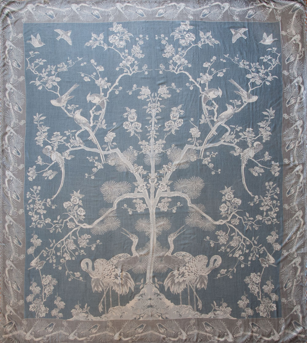 Bedspread designs texture - A Cozy Jacquard Woven Bedspread Or Throw The Pattern Centering On A Large Tree Full Of Birds Is Reminiscent Of Traditional Chinoiserie Designs