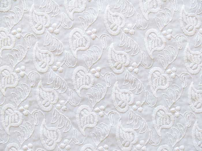 Embroidered Cotton Fabric Whiteonwhite Or Dye It Ebay