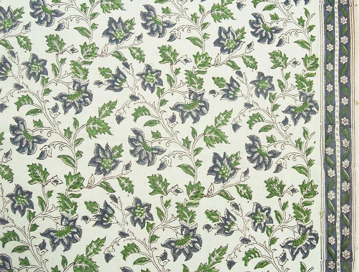 2 189 Yards Hand Printed Cotton Block Print Blue Green