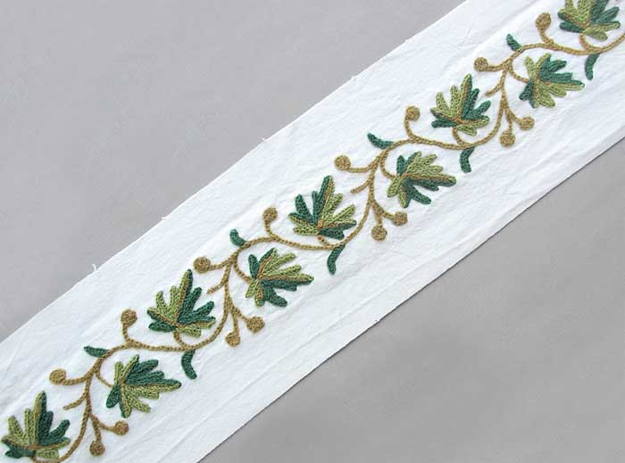 Yards wide hand embroidered crewel trim wool